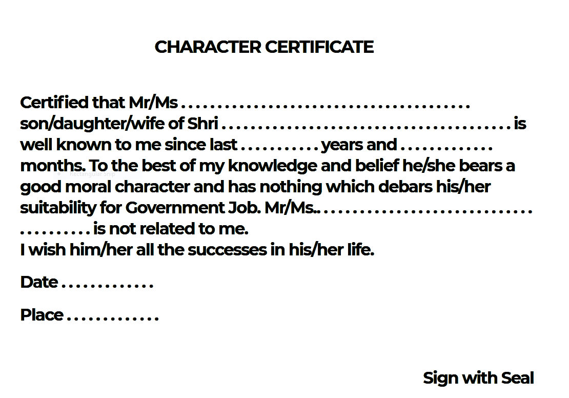 Character Certificate in English